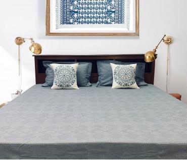 Grey Jacquard Cotton King Bedcover set with 2 Printed Mandala Cushion Covers