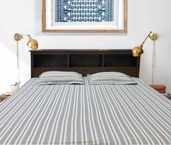 Cream & Dark Grey Jacquard Cotton King Bedsheet with 2 Pillow Covers