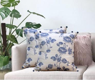 """Cream & Blue Floral Printed Cushion Cover (16""""x16"""")"""