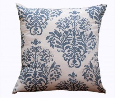 "Distress Damask Printed Cotton Cushion Cover 18""x18"""