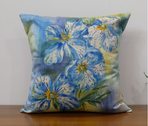 """Multicolor Floral Hand Painted Cushion Cover (20""""x20"""")"""