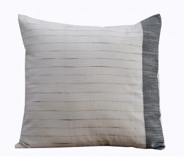 "Cream Jute Stripe Handwoven Cotton Cushion Cover 16""x16"""