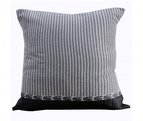 "Stripe Handwoven Paisley Border Cotton Cushion Cover 15.5""x15.5"""