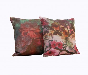 """Set of 2 Assorted Floral Printed Linen Cushion Cover 16""""x16"""""""
