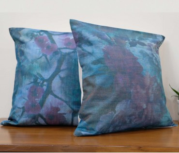 """Set of 2 Assorted Blue Printed Linen Cushion Cover 18""""x18"""""""