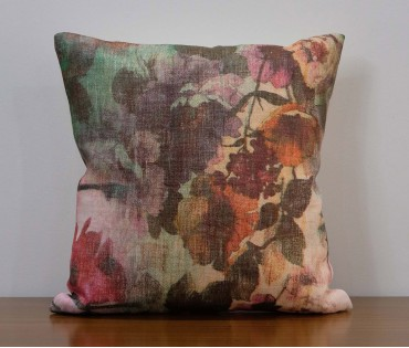"""Floral Printed Linen Cushion Cover 12""""x12"""""""