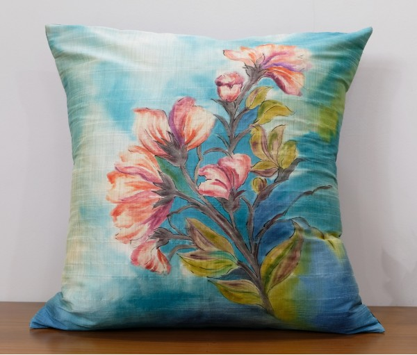 "MULTICOLOR FLORAL HAND PAINTED CUSHION COVER (20""X20"")"