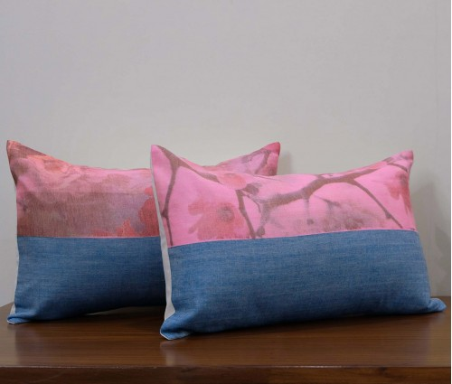 """Set of 2 Assorted Floral Printed Linen Cushion Cover 12""""x18"""""""