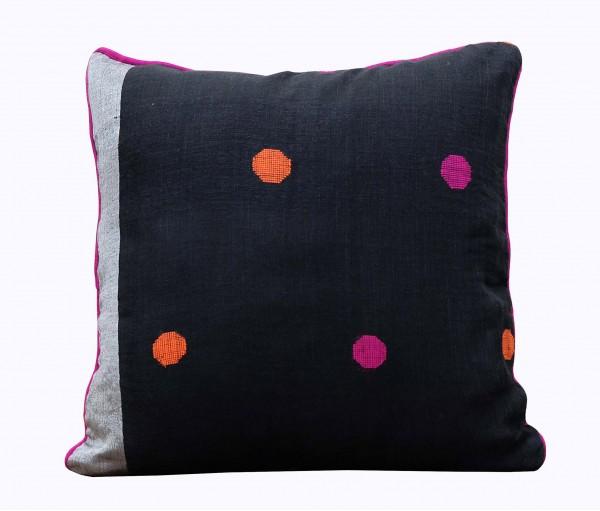 "Black & Fuchsia Handwoven Linen Gauze Cushion Cover 19.5""x19.5"""