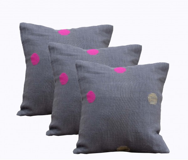 "Set of 3 Grey Polka Handwoven Linen Gauze Cushion Cover 12""x12"""