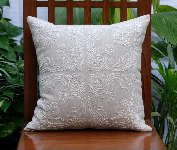 "BEIGE HAND EMBROIDERED LINEN CUSHION COVER (16""x16"")"