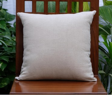 "Solid Beige Linen Cushion Cover (16""x16"")"