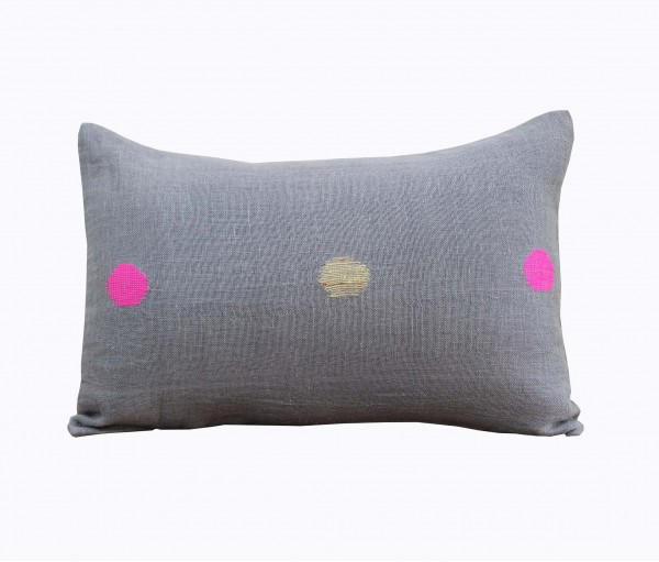 "Grey Polka Handwoven Linen Gauze Cushion Cover 12""x17"""