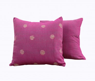 """Set of 2 Pink Assorted Handwoven Linen Gauze Cushion Cover 19""""x19"""""""