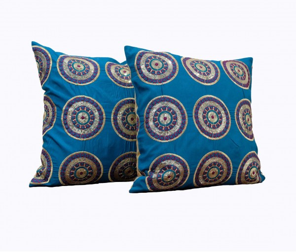 """Set of 2 Embellished Circle Embroidery Cushion Cover 16""""x16"""""""
