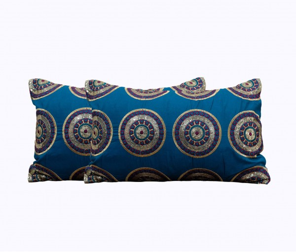 """Set of 2 Embellished Circle Embroidery Cushion Cover 12""""x18"""""""