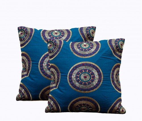 """Set of 2 Embellished Circle Embroidery Cushion Cover 12""""x12"""""""