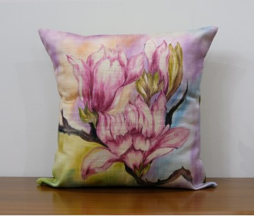 """MULTICOLOR FLORAL HAND PAINTED CUSHION COVER (16""""X16"""")"""