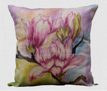 "Multicolor Floral Hand Painted Cushion Cover (16""x16"")"