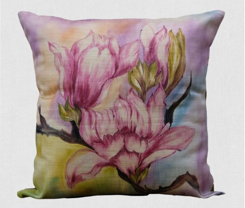 """Pink Olive Floral Hand Painted Silk Cushion Cover 16""""x16"""""""