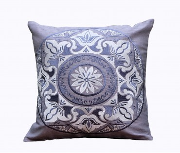 "Mandala Grey Embroidered Cushion Cover 16""x16"""