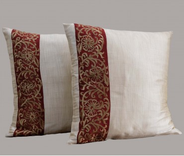 """Set of 2 Maroon Embroidered Silk Cushion Cover 15.5""""x15.5"""""""