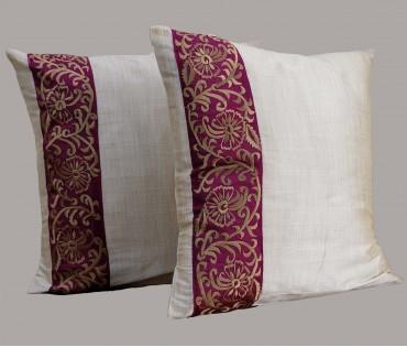 "Set of 2 Fuchsia Embroidered Silk Cushion Cover 15.5""x15.5"""