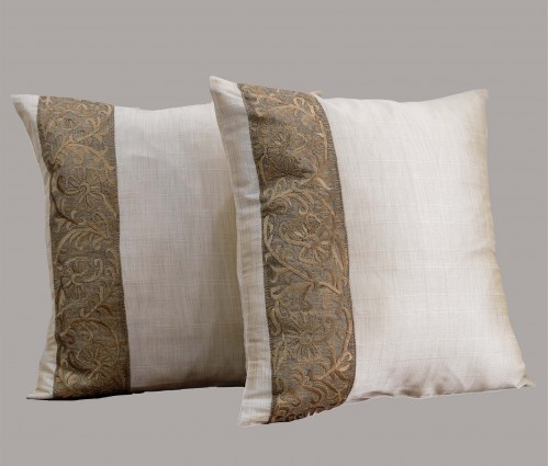 """Set of 2 Beige Embroidered Silk Cushion Cover 15.5""""x15.5"""""""