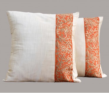 """Set of 2 Orange Embroidered Silk Cushion Cover 15.5""""x15.5"""""""