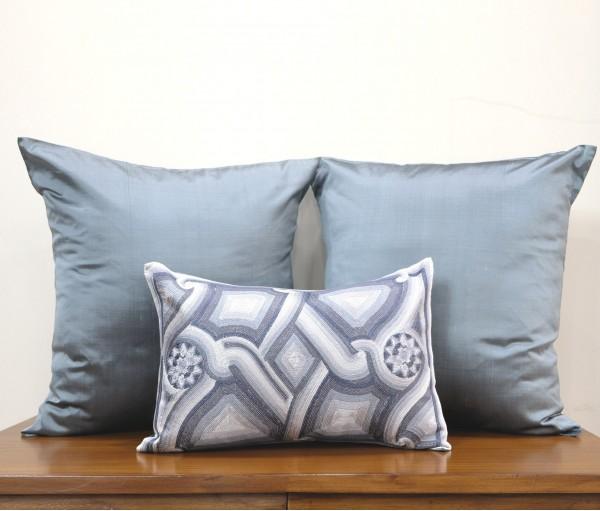 Grey Ornamental Silk Dupion Cushion Cover (Set of 3)