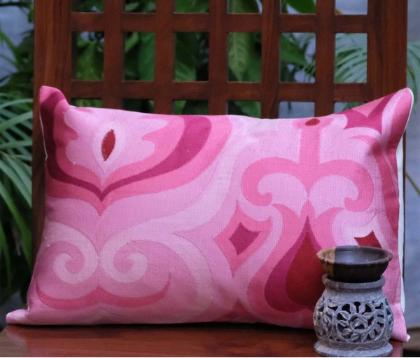 "Pink Ornamental Cushion Cover 12""x17"""