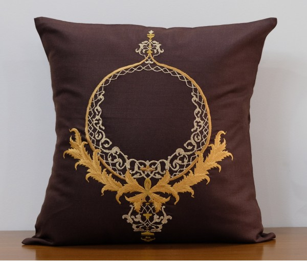 "BROWN ORNAMENTAL LUREX EMBROIDERED COTTON CUSHION COVER 16""X16"""