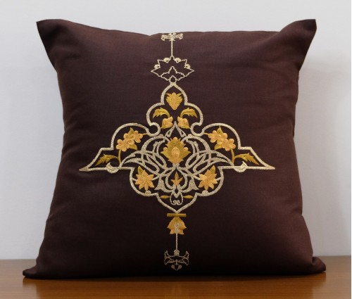 """Brown Experimental Lurex Embroidered Cotton Cushion Cover 16""""x16"""""""