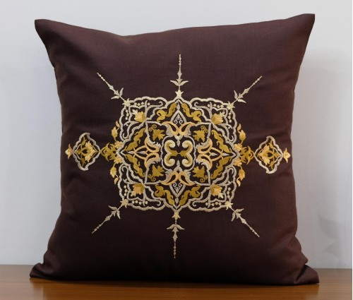 """Brown Zwina Lurex Embroidered Cotton Cushion Cover 16""""x16"""""""
