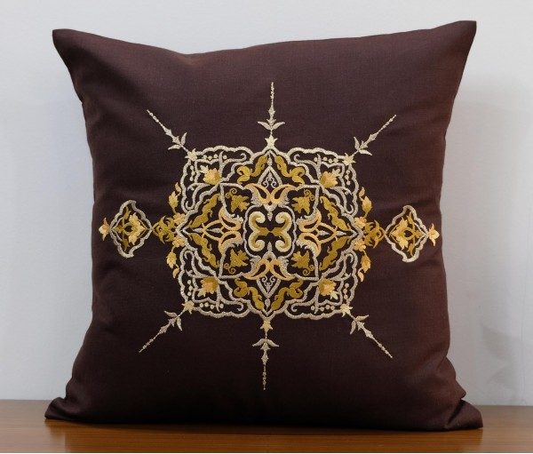 "BROWN ZWINA LUREX EMBROIDERED COTTON CUSHION COVER 16""X16"""