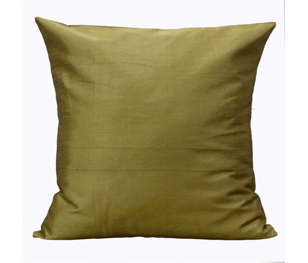 """Solid Olive Poly Dupion Cushion Cover 20""""x20"""""""