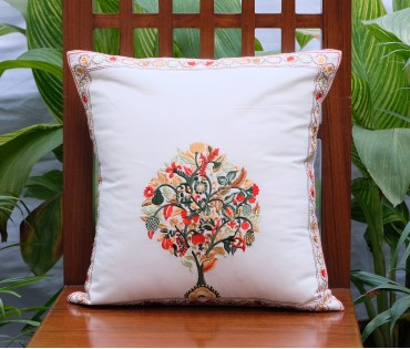 "Tree Of Life Embroidered Cotton Cushion Cover (15.5""x15.5"")"