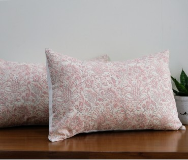 "FLORAL COTTON CUSHION COVER (12""X18"") Set of 2"