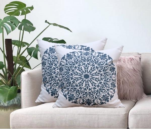 """Cream Mandala Printed Cotton Cushion Cover (16""""x16"""")"""