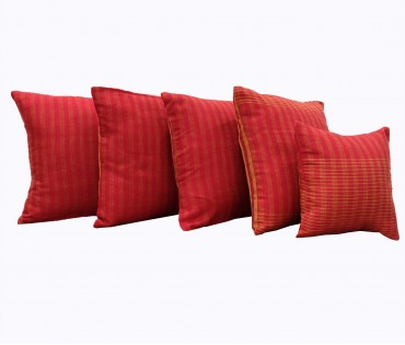 Set of 5 Red Handloom Cotton Linen Cushion Cover (Assorted)
