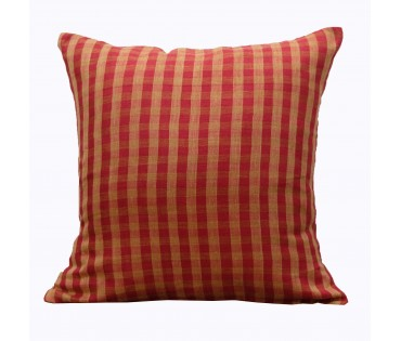 "Red Checks Cotton Linen Gauze Cushion Cover 19.5""x19.5"""
