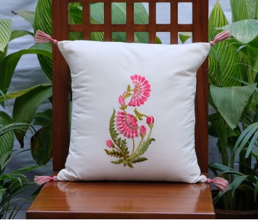 "Zehrat Single Rose Pink Embroidered Cream Cushion Cover (16""x16"")"