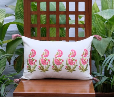 "Zehrat Rose Pink Embroidered Cream Cushion Cover (12""x17"")"