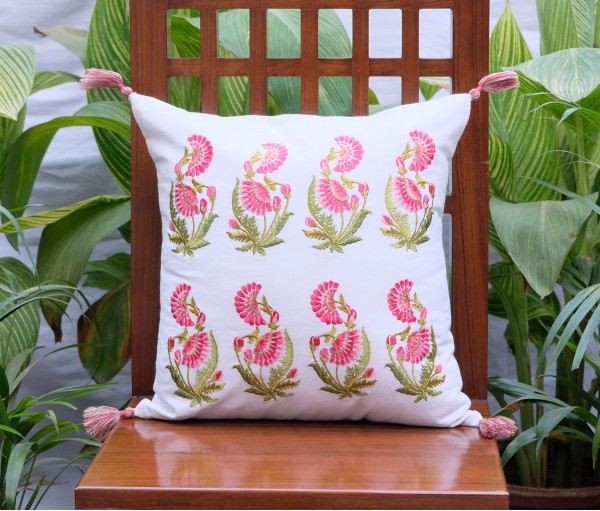 "ZEHRAT ROSE PINK EMBROIDERED OFF WHITE CUSHION COVER (16""X16"")"