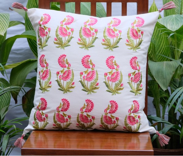 """Zehrat Rose Pink Embroidered Cream Cushion Cover (20""""x20"""")"""