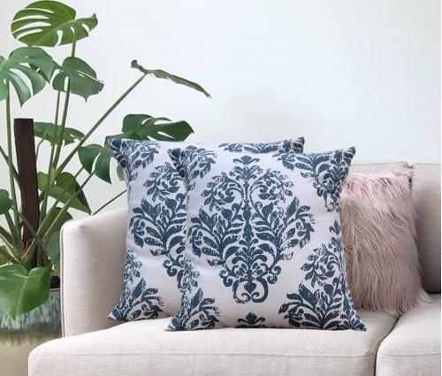 "Cream Distress Damask Cotton Cushion Cover (16""x16"")"