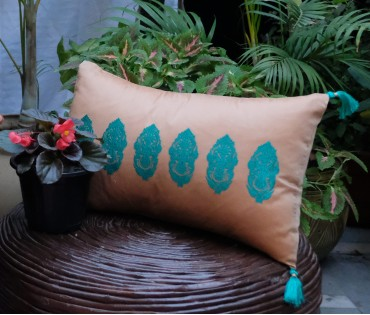 """LIGHT BROWN WITH TEAL ALPANA EMBROIDERED CUSHION COVER (12""""X18"""")"""