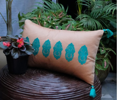 """Light Brown With Teal Alpana Embroidered Cushion Cover 12""""x18"""""""