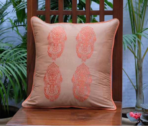 "LIGHT BROWN WITH ORANGE ALPANA EMBROIDERED CUSHION COVER (16""X16"")"