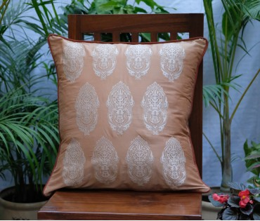 """LIGHT BROWN WITH BEIGE ALPANA EMBROIDERED CUSHION COVER (SET OF 2) (20""""X20"""")"""